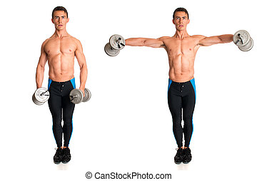 Dumbbell Lateral Raise Studio composite over white
