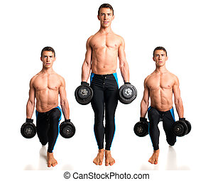 Weighted Reverse Lunge Studio composite over white