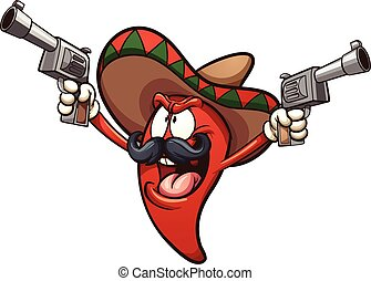 Mexican chili pepper holding two guns. Vector clip art...