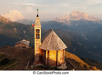 Col DI Lana with chapel, Monte Pelmo and mount Civetta -...