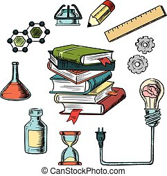 Knowledge, science and education icons