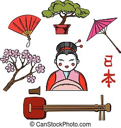 Japanese travel and culture icons - Japanese travel and...