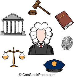 Law, judge and justice icons surrounding a lawyer with a...