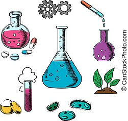 Science, research and experiment elements