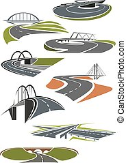 Icons of roads with bridges - Icons of asphalt roads and...