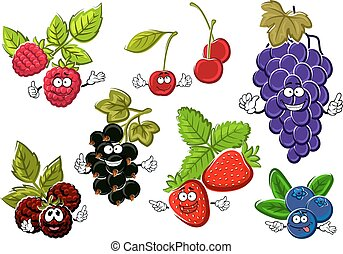 Garden berry fruits happy characters. Black currant,...