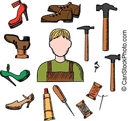 Shoemaker with tools and shoes - Shoemaker profession...
