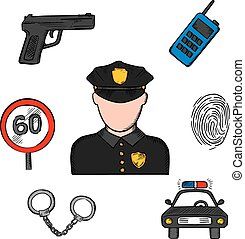 Policeman in uniform and police icons