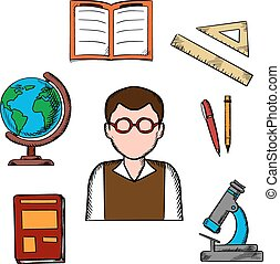 Education and school objects icons
