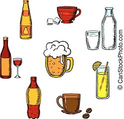 Drinks, alcohol and beverages icons