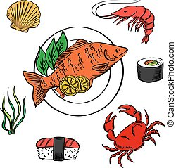Seafood with fish, sushi, crab and shrimp