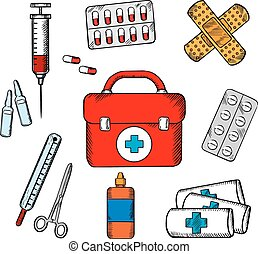 Ambulance and medical objects icons - Ambulance concept with...