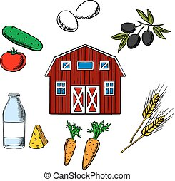 Farming food and agriculture objects arranged in a circle...