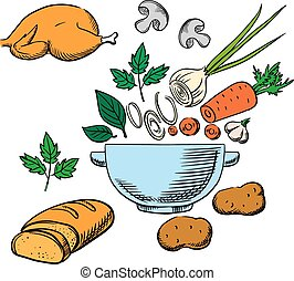 Cooking process with vegetables and ingredients