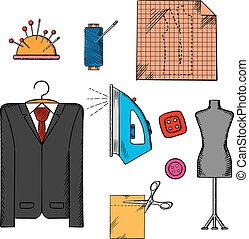 Tailor tools, cloth and accessories