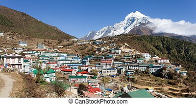 Namche bazar and mount thamserku - View of Namche bazar and...