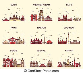 Set Indian cities vector illustration linear - Set of Indian...