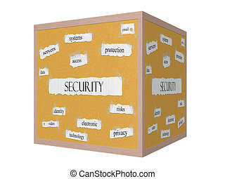 Security 3D Corkboard Word Concept with great terms such as...