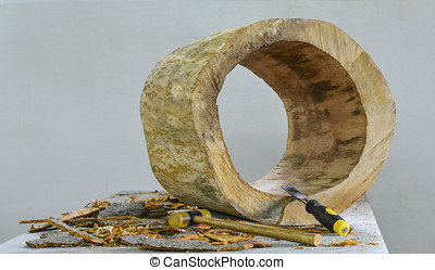 Tree trunk carved - Picture of a tree section having the...