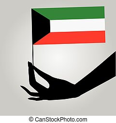 Hand with flag Kuwait - Flag of Kuwait in a female hand...