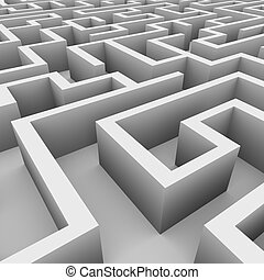 3d view of endless maze - 3d illustration of perspective...