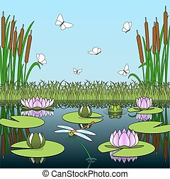 Colorful cartoon background with pond inhabitants and plants.