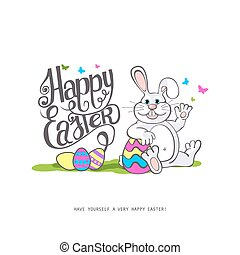 Happy Easter. Easter bunnies and egg in field. - Happy...