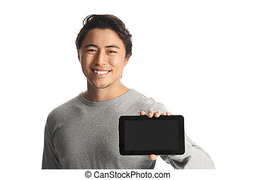 Attractive man with a digitalreader - A handsome man in his...