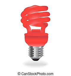 energy saving light  - Energy, saving, light, bulb, red