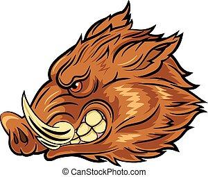 Illustration of head wild boar - Vector illustration of head...
