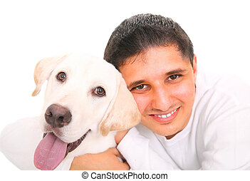 Happy Teen With Dog - close up, smiling teenager hugging a...