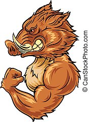 Cartoon angry wild boar mascot - Vector illustration of...