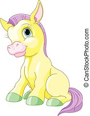 Magic Pony - Illustration of cute yellow pony