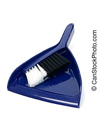Dustpan - A dust pan and brush isolated against a white...