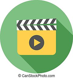 Clapperboard - Clapper, board, film icon vector image Can...
