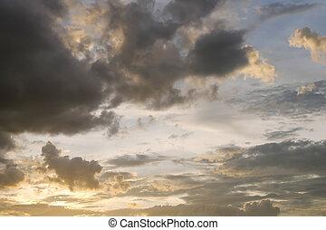 ciel, sombre, dramatique, noir, fond, Coucher soleil, nuage