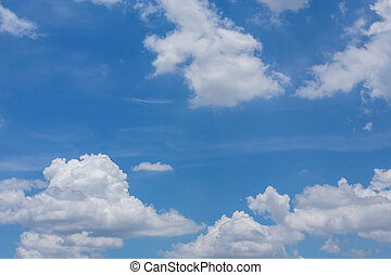 fluffy cloud on clear blue sky background, pure air on a...