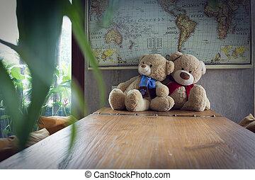 pareja, teddy, oso, en, de madera, tabla, decoración,...