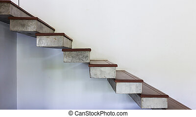 staircase on white mortar wall, design of modern home