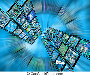 film - Many abstract images on the theme of computers,...