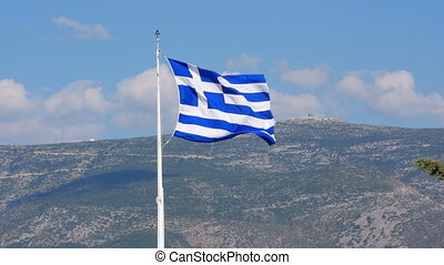 quot;One single greek flag on acropolis hill, athens,...