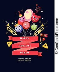 happy purim,holiday background - funny ballons toys flags...
