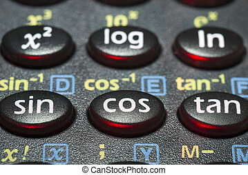 trigonometry calc - closeup fragment scientific calculator...