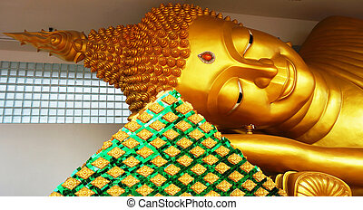 Reclining Buddha in Thailand - Sleeping Buddha, a beautiful...