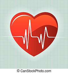 heart red and heartbeat background vector