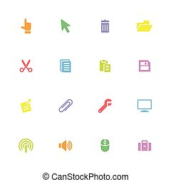 Colorful simple flat icon set 3