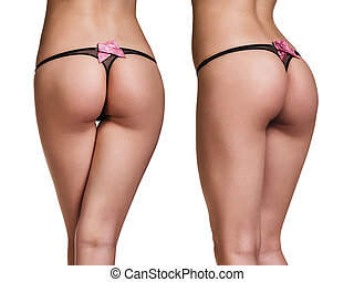 Perfect female buttocks in black thong isolated on whit...