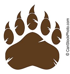 Brown Bear Paw With Claw. Illustration Isolated On White...