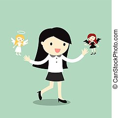 Business woman with angel and devil - Business concept,...