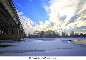 Landscape of central Russia - Oktyabrsky bridge over the...